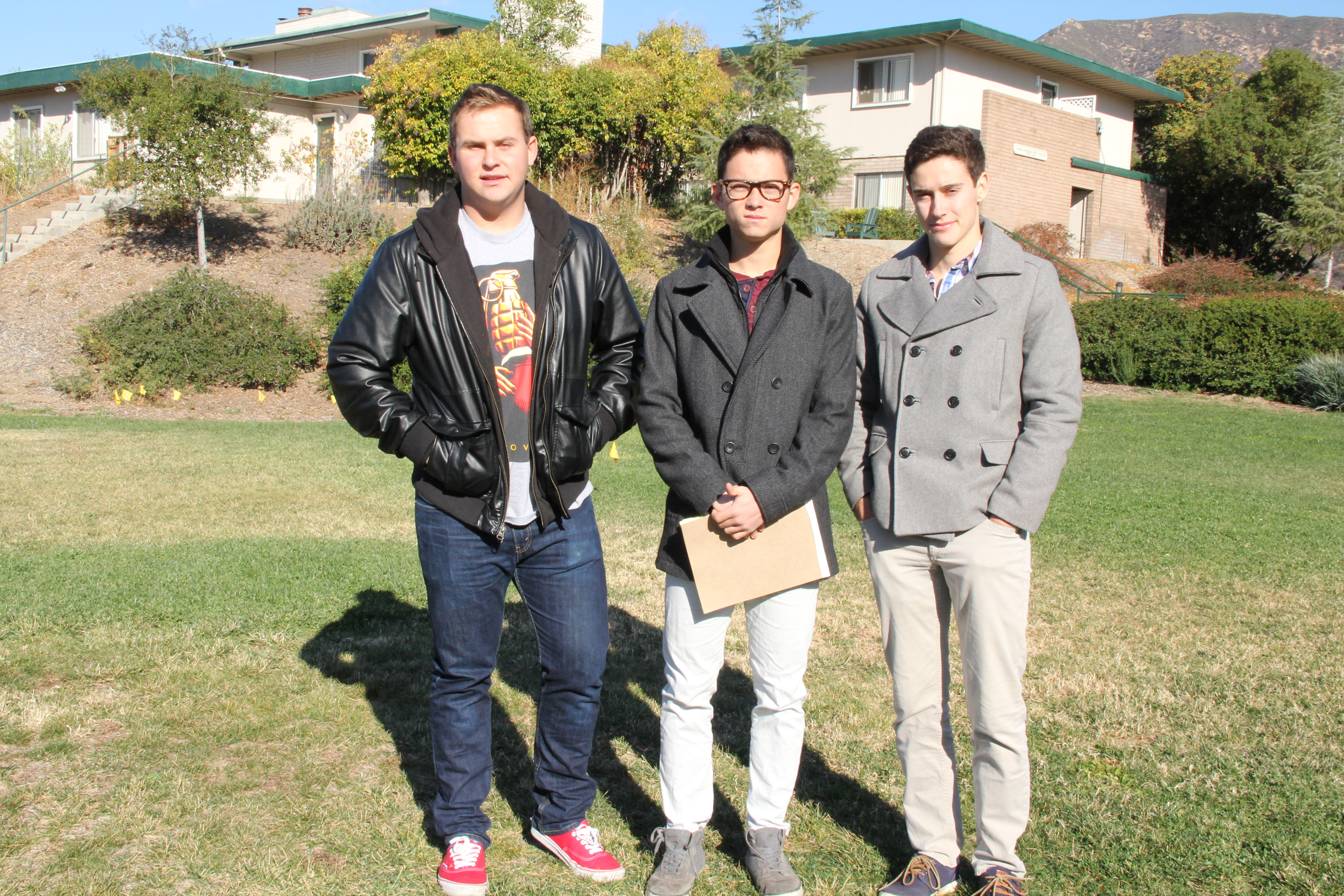 Left to right Keaton Shiffman, Masaki Takamatsu and Grant Spencer stand where ground may be broken to begin the construction of the new court