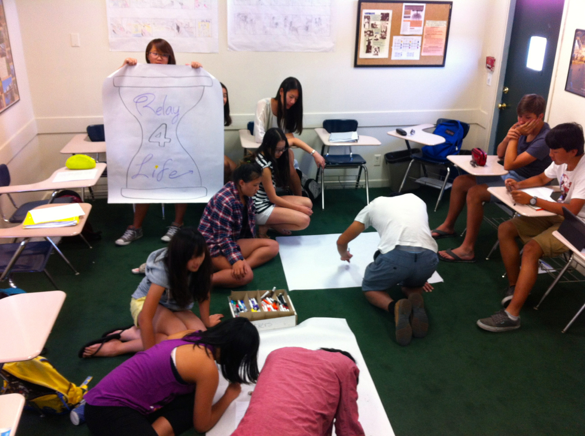 ESL Students work on Relay for Life posters. Photo by Crystal Davis.