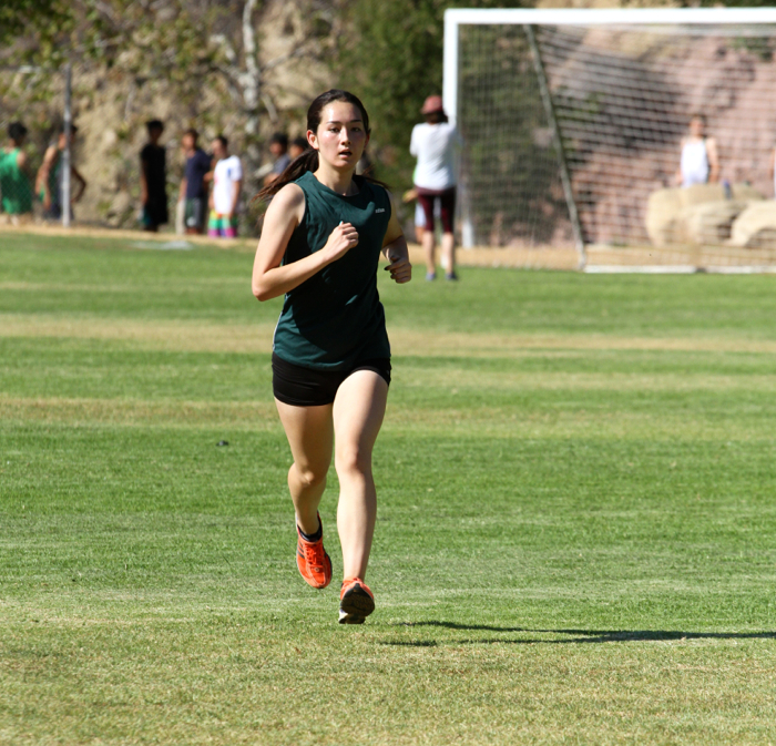Senior Momoe Takamatsu took first place overall in the opening cross country meet of the Condor League season -- Photo by John Boyd