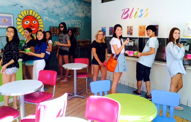 OVS students enjoy their yogurt at Bliss during the Kids Helping Kids fundraiser -- Photo by Cecile Wasmer