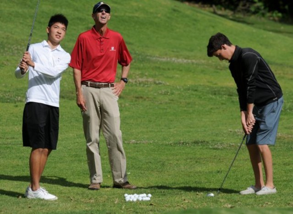 Harris Tsui and Davis Smith practice with coach Jeff Johnson at the Ojai Valley Inn -- Photo Courtesy of the Ventura County Star