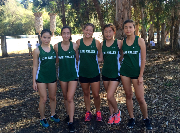 The mighty OVS girls cross country includes (from left to right) Gilim Bae, Winnie Chang, Ally Feiss, Tracy Zeng and Sunny Chang.