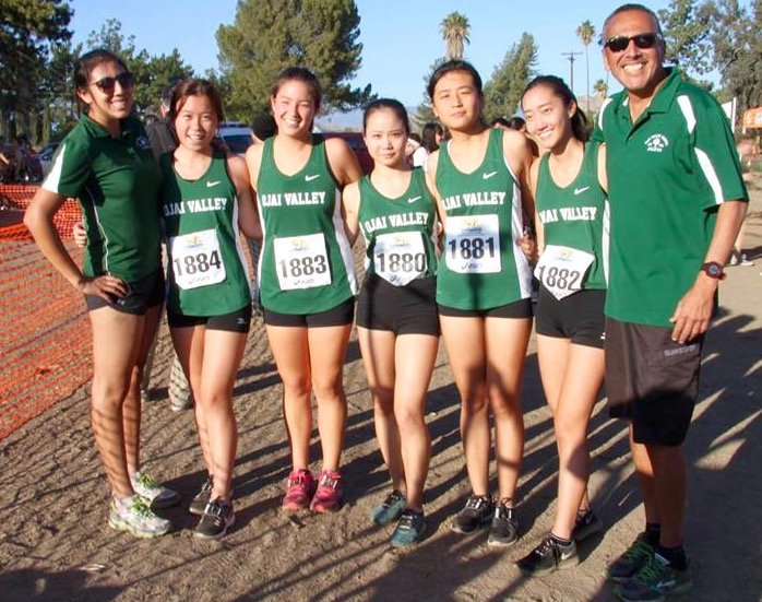 The 2015 Cross Country Team (from left to right): Coach Apple Alvarez, Tracy Zeng, Ally Feiss, Gilim Bae, Sunny Chang, Winning Chang and coach Fred Alvarez -- Photo by Momoe Takamatsu