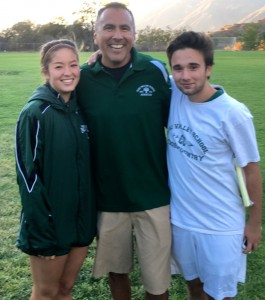 OVS cross country coach Fred Alvarez with two of his graduating seniors, Ally Feiss and Cole Zellner -- Photo by Tony Yang