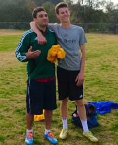 OVS alum Hunter Helman poses with soccer team captain Davis Smith. Hunter took over the reins this years of the soccer program at the Upper Campus -- Photo by Josh Han