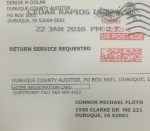 Connor's voter registration card, allowing him to take part in the Iowa caucuses.