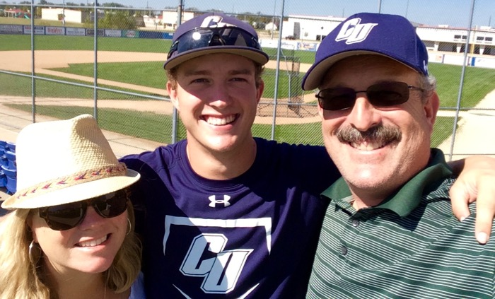 Connor at Clarke University in Iowa with his mom Michele and dad Craig.