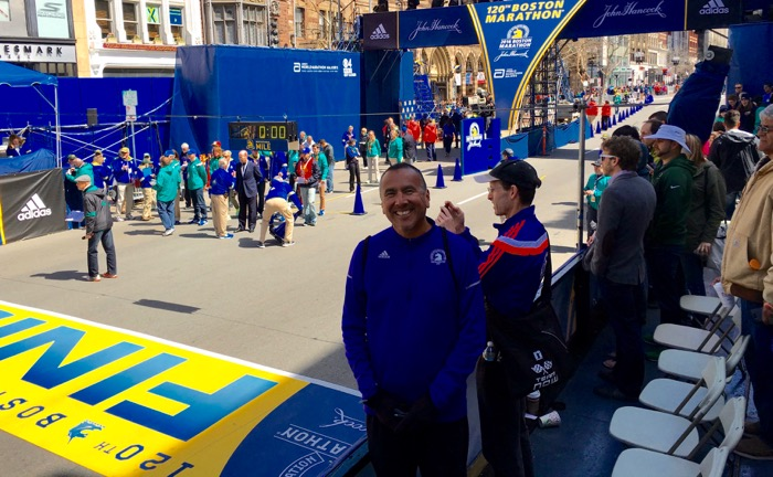 OVS history teacher Fred Alvarez at the finish line of the Boston Marathon -- Photo by Apple Alvarez