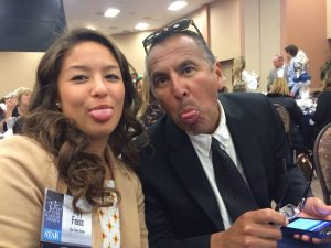 Ally Feiss and her advisor Fred Alvarez goof around at the Star Awards -- Photo by Jinny Feiss