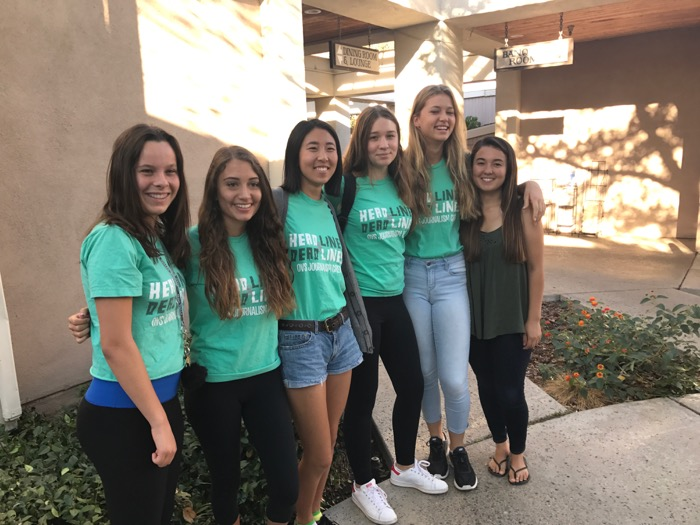 Students who attended this week's journalism workshop included (from left to right) Caroline Morrow, Natasha Freudmann, Joy Campbell, Emma Gustafson, Clover Griffin and Evelyn Brokering.