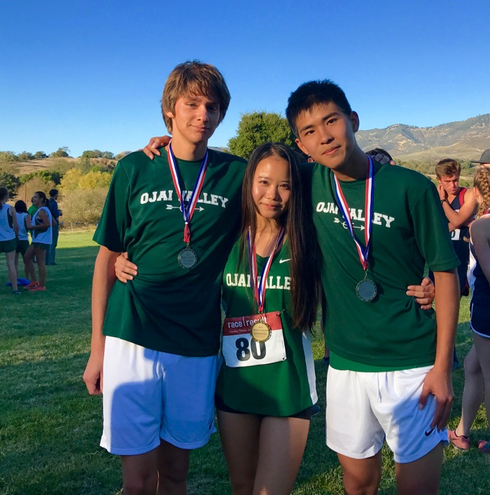 Juniors Jacob Tadlock and Erick Liang earned medals with Top Ten finishes at the Condor League final, while senior Gilim Bae was crowned league champion with her fast, first-place finish -- Photo by Alex Alvarez