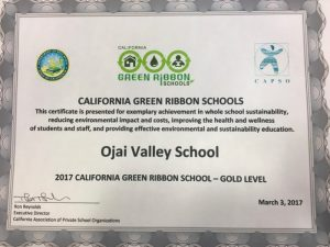 The Green Ribbon Award, given to Ojai Valley School at a Friday ceremony -- Photo by Tracy Wilson