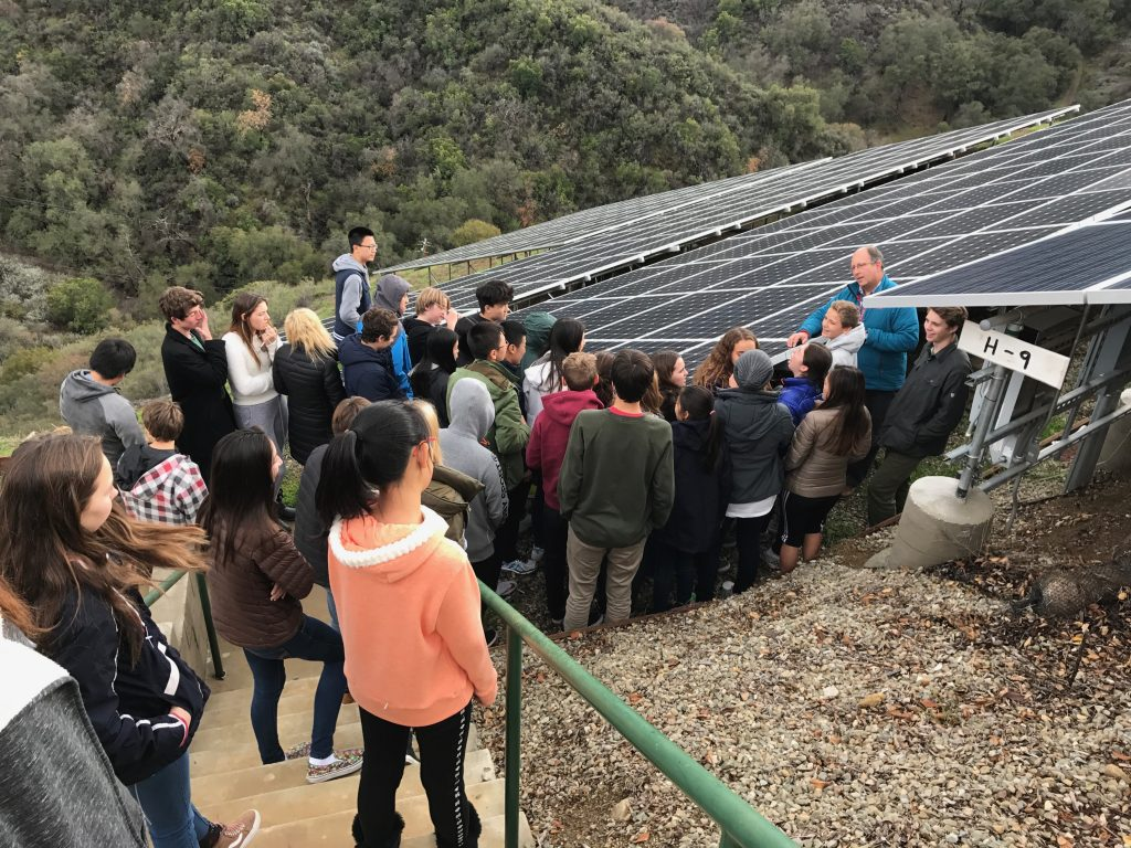AP Environmental Science teacher John Wickenhaeuser teaches biology students about solar panel technology -- Photo by Lisa Boyd
